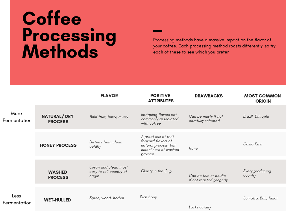 Coffee processing methods: natural process, honey process, washed process, wet-hulled.